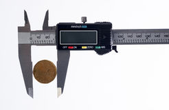Canadian coin,and  caliper Royalty Free Stock Images