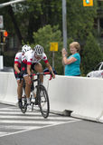 Canadian Competitors Weldon and Lemieux in the Mixed Tandem Bike Race - ParaPan Am Games - Toronto August 8, 2015 Stock Photo