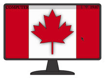 Canadian Computer Flag. A mouse arrow or cursor on a Canadian computer screen isolated on a white background Stock Photo