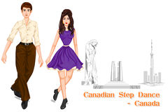 Canadian Couple performing Canadian Step Dance of Canada vector illustration