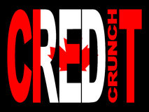 Canadian Credit crunch. Credit crunch text with Canadian flag illustration royalty free illustration