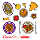 Canadian cuisine dinner with desserts and drinks. Traditional canadian poutine colored sketch symbol, served with grilled peameal bacon, chicken stew with stock illustration