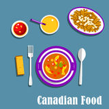 Canadian cuisine dinner dishes and drinks. Vegetarian dinner of canadian cuisine with poutine, french fries, cheese curds and brown gravy, vegetable stew with stock illustration