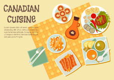Canadian cuisine dishes for picnic or bbq icon. Canadian picnic dishes icon with top view of table with grilled beef steak and vegetables on the side, french stock illustration