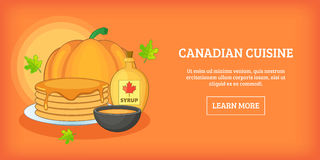 Canadian cuisine horizontal banner, cartoon style Stock Photo