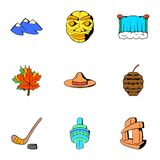 Canadian culture icons set, cartoon style. Canadian culture icons set. Cartoon illustration of 9 canadian culture vector icons for web Royalty Free Stock Photo