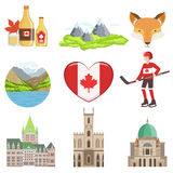 Canadian Culture Symbols Set. Of Items.  Objects Representing Canada On White Background Royalty Free Stock Photos
