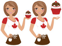 Canadian cupcake girl Royalty Free Stock Photography