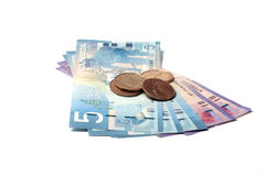 Canadian Currency. Banknote and coins Stock Photography