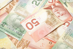 Canadian Currency. A closeup shot of Canadian currency in twenties and fifties Royalty Free Stock Image
