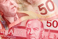 Canadian currency. Old and new fifty dollar notes for canada Stock Photos