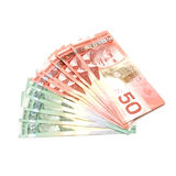 Canadian Currency. An isolated shot of Canadian currency in twenties and fifties Royalty Free Stock Image