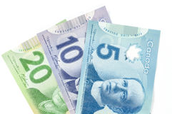 Canadian currency. Canadian paper bills in 5 10 and 20 dollars Royalty Free Stock Images