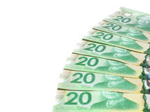 Canadian Currency. PLEASANT VALLEY, CANADA - MARCH 27, 2015: The Canadian twenty dollar note is a banknote of the Canadian dollar. The Frontier Series banknote Stock Image