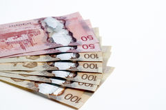 Canadian currency. On a white background Royalty Free Stock Photography
