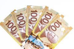Canadian currency. On a white background Stock Photos