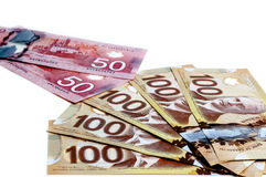 Canadian currency. On a white background Royalty Free Stock Photos