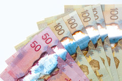 Canadian currency. On a white background Royalty Free Stock Photo