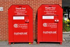 Canadian Diabetes Association donation box. Canadian Diabetes Association red donation box outside the building Stock Images