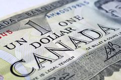 Canadian Dollar. Close up Photograph of a Canadian One Dollar Banknote Royalty Free Stock Image