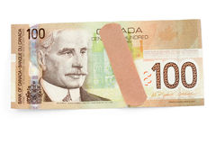 Canadian dollar and bandage Royalty Free Stock Photography
