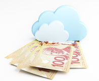 Canadian dollar banknotes under cloud Royalty Free Stock Images
