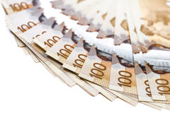 Canadian dollar bill. Close up shot of 100$ canadian bills Royalty Free Stock Photos
