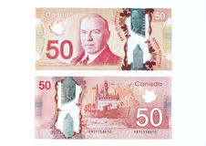 50 Canadian dollar bill. Front and back of a 50 canadian dollar bill stock photo