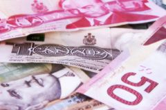 Canadian Dollar Bills Royalty Free Stock Images