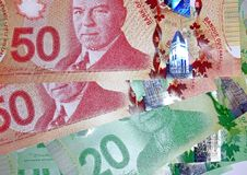 Canadian 50 dollar bills Royalty Free Stock Photos