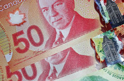 Canadian 50 dollar bills Royalty Free Stock Photography