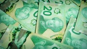 Canadian 20 Dollar Bills Rotating stock footage