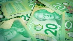 Canadian 20 Dollar Bills Rotating stock video
