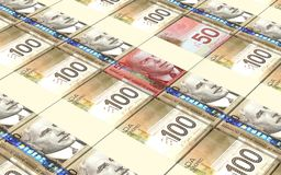 Canadian dollar bills stacks background. Royalty Free Stock Photography