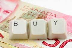 Canadian dollar. concept of online shopping Stock Photography