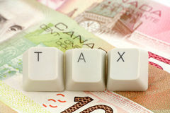 Canadian dollar, concept of tax Royalty Free Stock Images