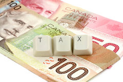 Canadian dollar, concept of tax Stock Photos