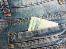 Canadian Dollar in a jeans pocket Stock Images
