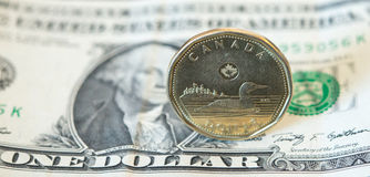 Canadian Dollar or Loonie Continues to Fall Amid Weak Oil Prices. The Canadian dollar or loonie is under pressure amid weak oil prices and a strengthening U.S Royalty Free Stock Photo