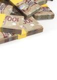 Canadian Dollar Notes Scattered Pile Stock Photography