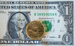 Canadian Dollar Or Loonie Continues To Fall Amid Weak Oil Prices Stock Photo