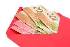 Canadian dollar and red envelope Royalty Free Stock Image