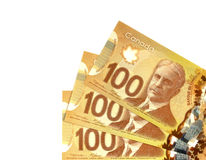Canadian Dollars. One hundred canadian dollars.Foreign currency over white background Royalty Free Stock Images