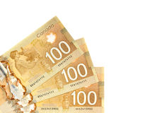 Canadian Dollars. One hundred canadian dollars.Foreign currency over white background Royalty Free Stock Photography