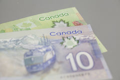 Canadian 10 and 20 dollars bank notes Royalty Free Stock Photo