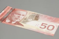 Canadian 50 dollars banknote. On gray background Royalty Free Stock Photography