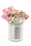 Canadian dollars and tin Royalty Free Stock Photos