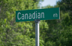Canadian EH. A road sign with the stereotypical saying 'Canadian EH'. I am Canadian stock image