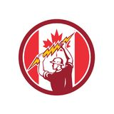 Canadian Electrician Lighting Bolt Canada Flag Icon. Icon retro style illustration of a Canadian electrician or power lineman holding lightning bolt with Canada vector illustration