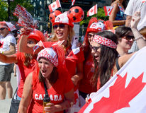 Canadian fans arrive to BC Place Stadium Royalty Free Stock Photos